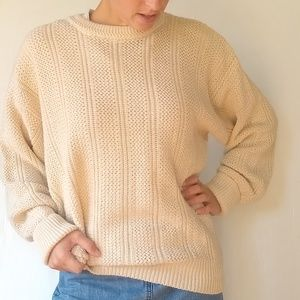 Vintage • cream oversized cozy grandpa sweater